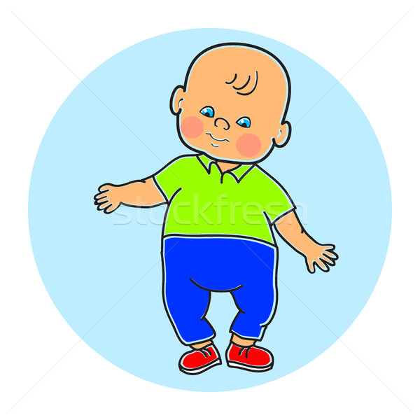 Little lovely baby boy standing, walking, learning to walk. Colo Stock photo © cosveta