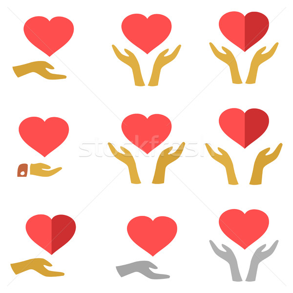стилизованный красный сердце рук человека женщину Сток-фото © cosveta