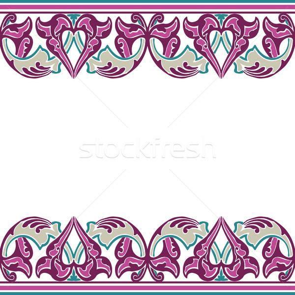 Foto stock: Vector · sin · costura · frontera · oriental · estilo