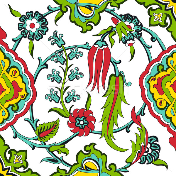 Vector tile oriental floral, ethnic drawing arabic pattern flora Stock photo © cosveta