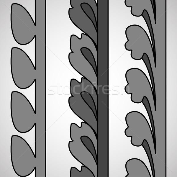 Vintage decorativo set in bianco e nero floreale pattern Foto d'archivio © cosveta