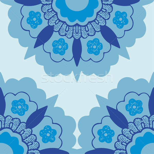 Ornamental corners flowers silhouette pattern, bluel corner flowers isolated background, Template fr Stock photo © cosveta