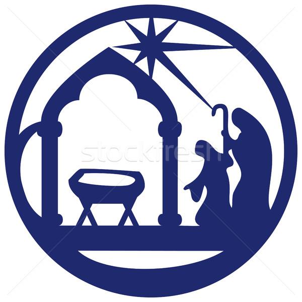 Sylwetka ikona niebieski biały scena Zdjęcia stock © cosveta