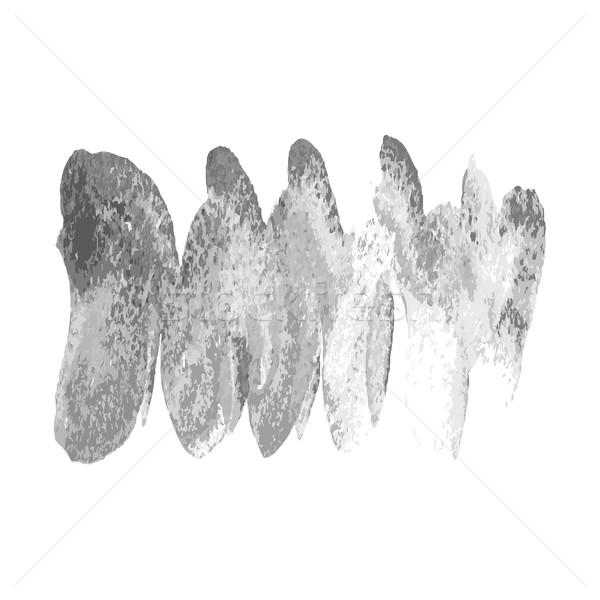 Silver brush paint stroke wave on white background. Splash spira Stock photo © cosveta