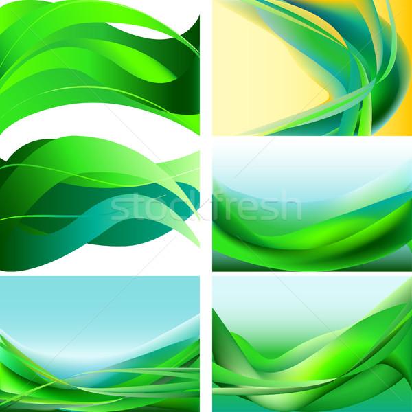 Conjunto verde azul amarelo ondas abstrato Foto stock © cosveta