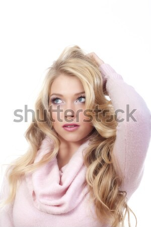 Fiatal szőke nő gyönyörű áll néz Stock fotó © courtyardpix