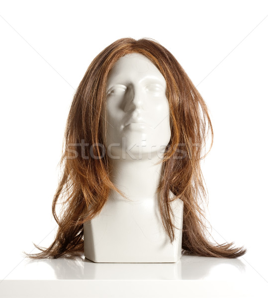 Mannequin Male Head with Wig on White Stock photo © courtyardpix
