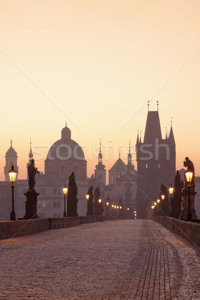 Prága híd Csehország hajnal város fény Stock fotó © courtyardpix