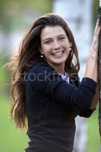 Kadın huş ağacı orman portre güzel esmer Stok fotoğraf © courtyardpix