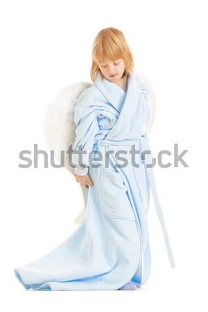 Fiú angyalszárnyak hosszú szőke haj izolált Stock fotó © courtyardpix