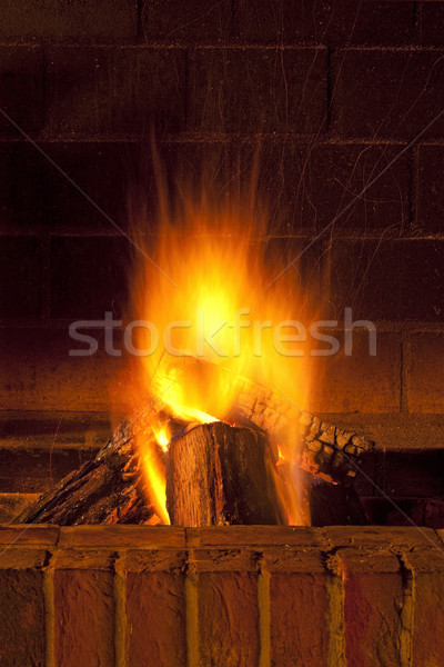 şömine tuğla büyük parçalar ahşap yanan Stok fotoğraf © courtyardpix