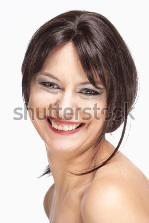Capelli castani sorridere ritratto donna occhi Foto d'archivio © courtyardpix