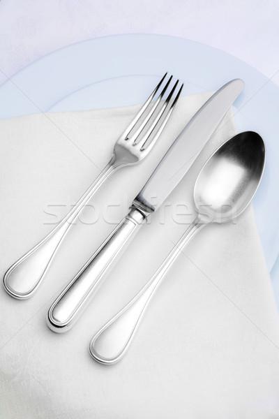銀食器 エレガントな プレート 白 布 食品 ストックフォト © courtyardpix