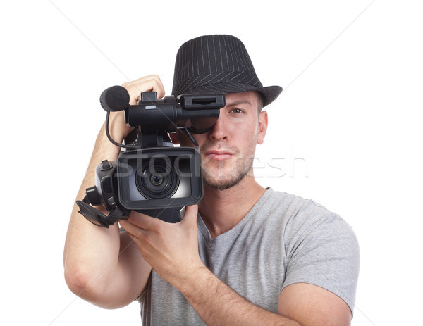 man with video camera Stock photo © courtyardpix
