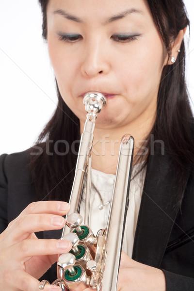 Portrait of a Female Trumpet Player  Stock photo © courtyardpix