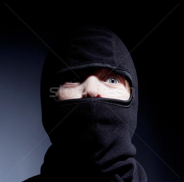 Portret jongen spelen ninja ogen Stockfoto © courtyardpix
