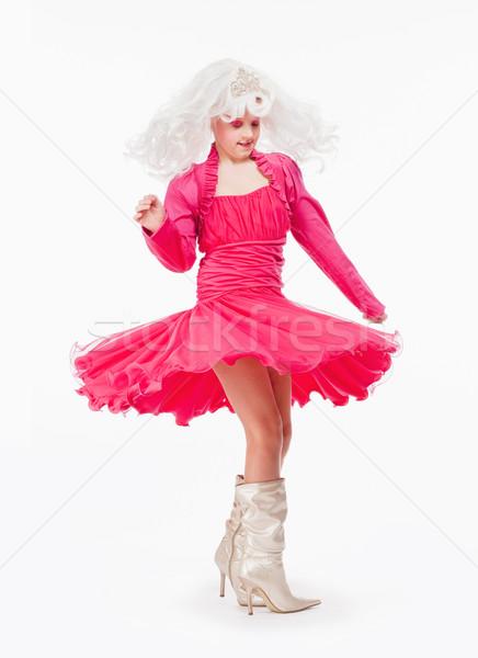 Kız beyaz peruk kırmızı elbise prenses dans Stok fotoğraf © courtyardpix