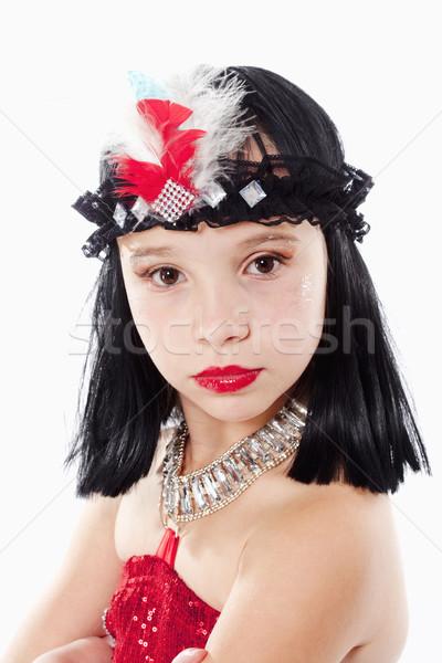 Dziewczynka peruka czerwona sukienka stylu portret włosy Zdjęcia stock © courtyardpix
