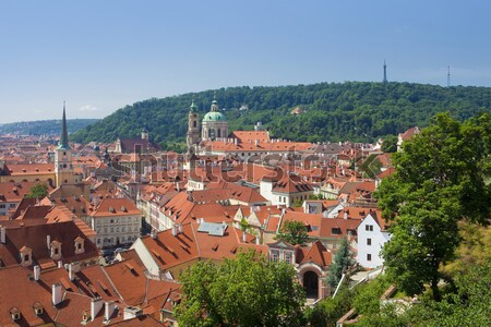 prague - st. nicolas church and rooftops of mala strana Stock photo © courtyardpix