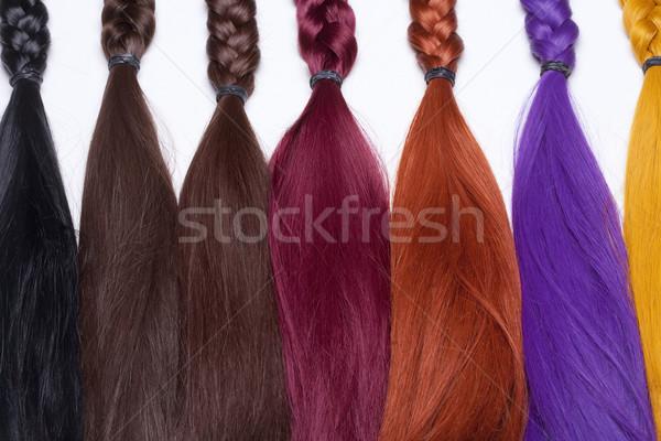 Yapay saç kullanılmış üretim kırmızı Stok fotoğraf © courtyardpix