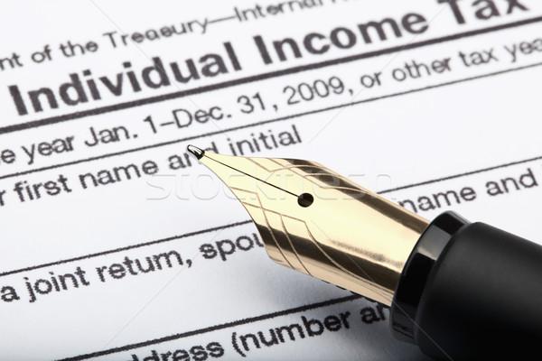 Pen fiscali forma 1040 individuale reddito Foto d'archivio © courtyardpix