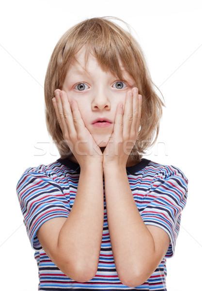 Boy with Blond Hair Suprised, Hands on his Cheeks  Stock photo © courtyardpix