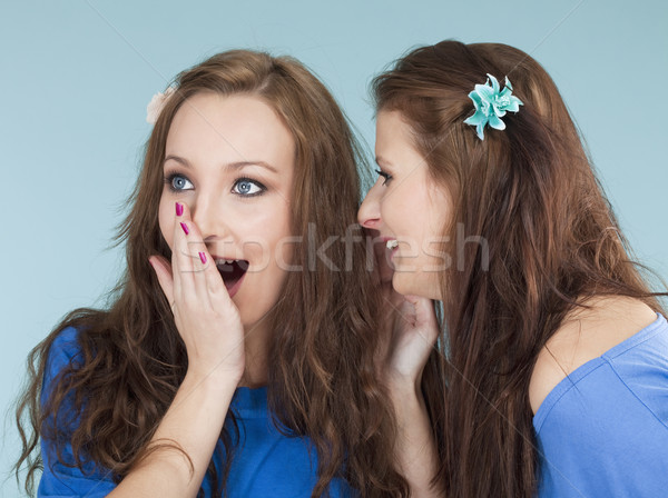 Stock photo: two young female friends whispering gossip
