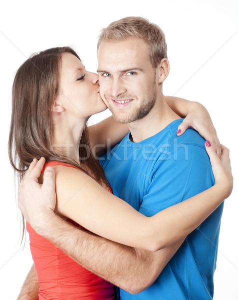 Boldog fiatal pér lány csók fiú átkarol Stock fotó © courtyardpix