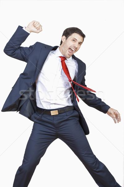 üzletember éljenez fiatal üzlet igazgató öltöny Stock fotó © courtyardpix