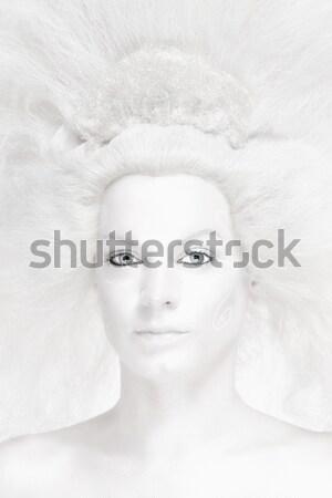 Vrouw witte pruik poseren sneeuw koningin Stockfoto © courtyardpix