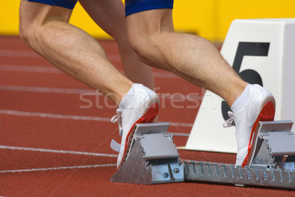 runner in starting blocks Stock photo © courtyardpix