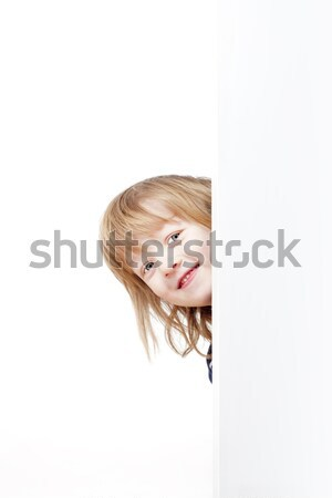 Stock photo: boy peeking