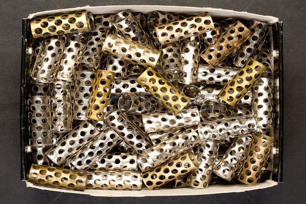 Closeup of Old Hair Rollers in a Box Stock photo © courtyardpix