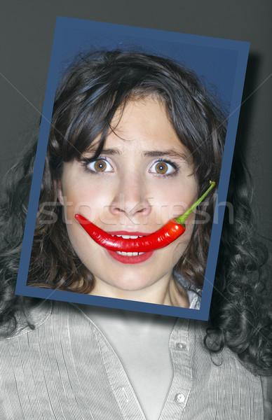 Foto stock: Mulher · pimenta · boca · mulher · jovem · cara