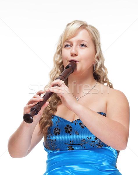 Homme musicien bleu robe jouer flûte Photo stock © courtyardpix