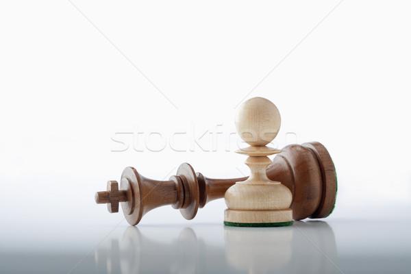 Schaakmat schaken spel witte pion permanente Stockfoto © courtyardpix