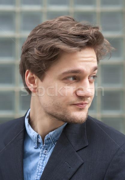 Portré fiatalember barna haj kint arc Stock fotó © courtyardpix