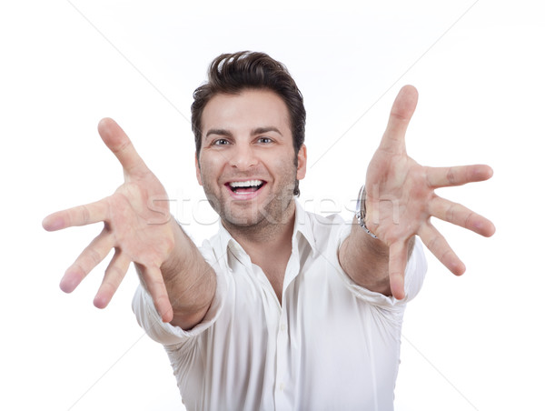 man smiling, arms outstretched Stock photo © courtyardpix