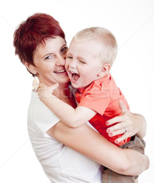 Anya gyermek boldog tart kicsi fiú Stock fotó © courtyardpix