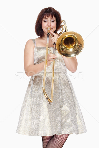 Jovem feminino músico jogar isolado branco Foto stock © courtyardpix
