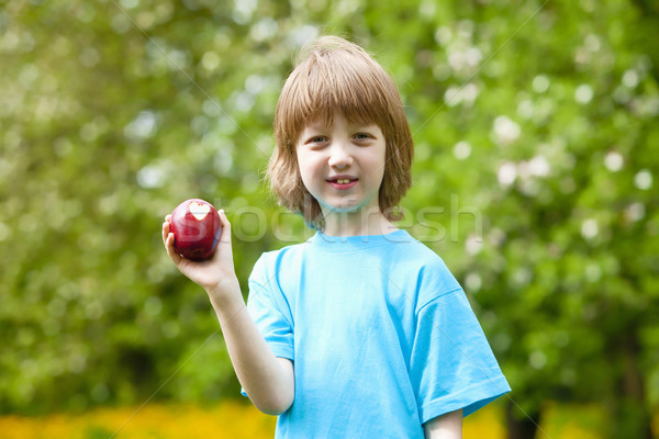Jongen rode appel tonen hart bijten Stockfoto © courtyardpix