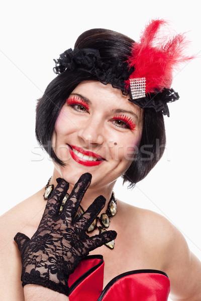 Kadın peruk şapka stil portre gülümseme Stok fotoğraf © courtyardpix