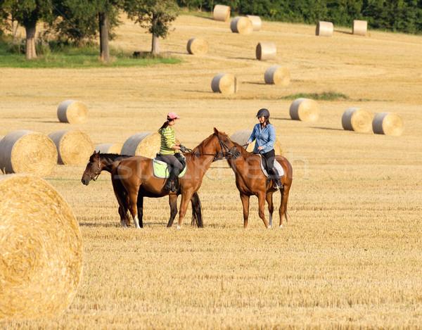 Twee vrouwen paardrijden landschap vrouw meisje vrouwen Stockfoto © courtyardpix