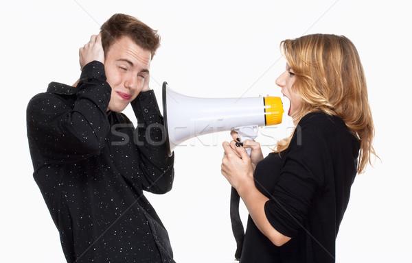 Pár harcol barátnő sikít megafon fiúbarát Stock fotó © courtyardpix