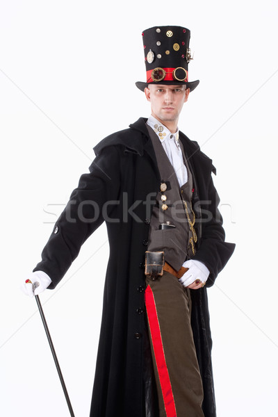 Magician with High Hat, Long Coat and Clock Parts Details Stock photo © courtyardpix