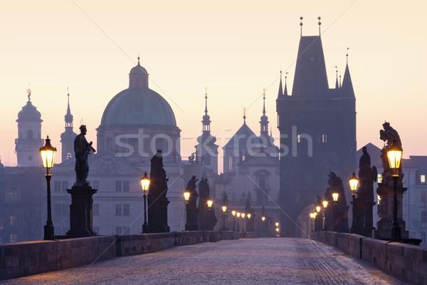 Foto stock: Praga · ponte · República · Checa · madrugada · cidade · luz