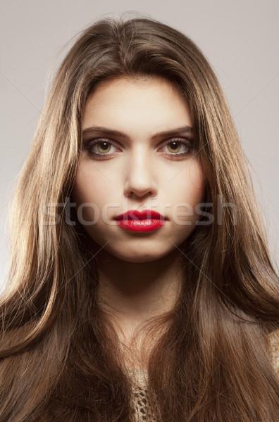 Portré gyönyörű tinilány hosszú barna haj modell Stock fotó © courtyardpix