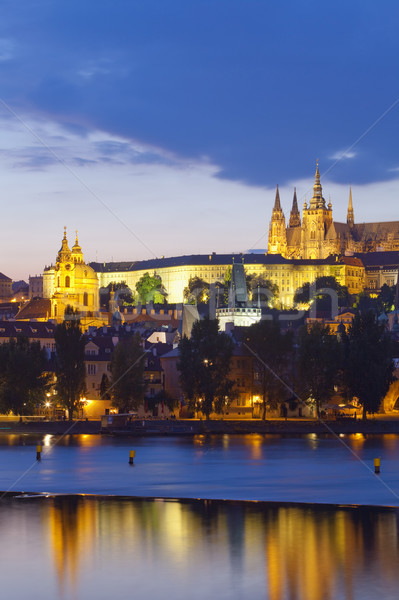 prague - hradcany castle at dusk Stock photo © courtyardpix