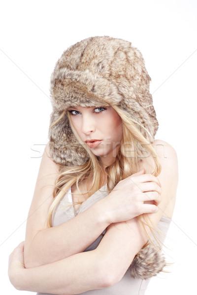 мех Hat красивой девушки Сток-фото © courtyardpix
