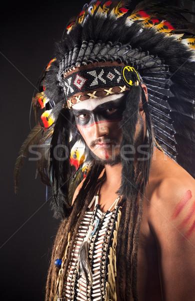 родной американских индейцев войны лице человека Сток-фото © courtyardpix